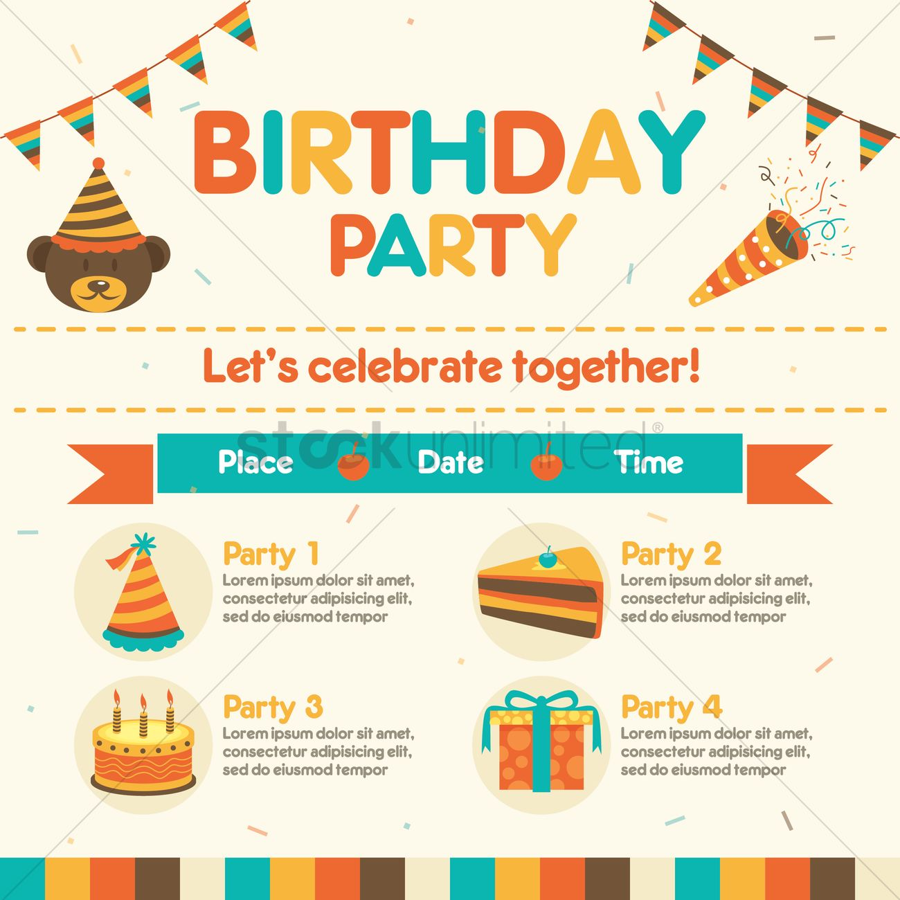 Infographic of birthday party Vector Image 1514328 StockUnlimited