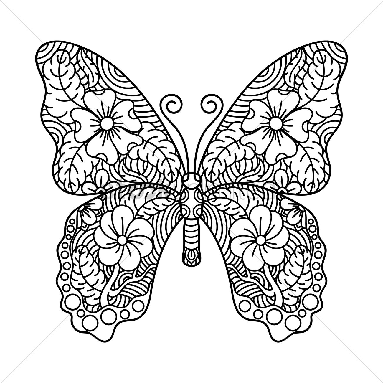 Intricate butterfly design Vector