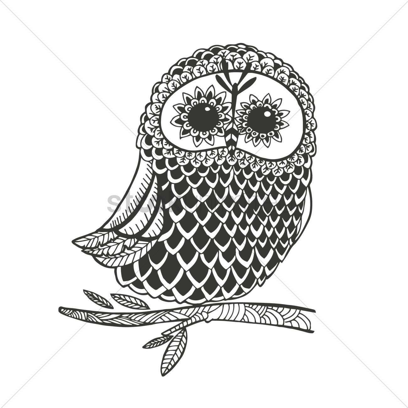 Intricate Owl Design Vector Image 1544172 Stockunlimited