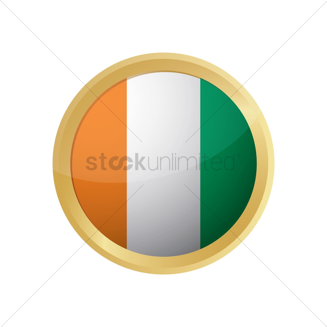 ivory coast flag button vector graphic
