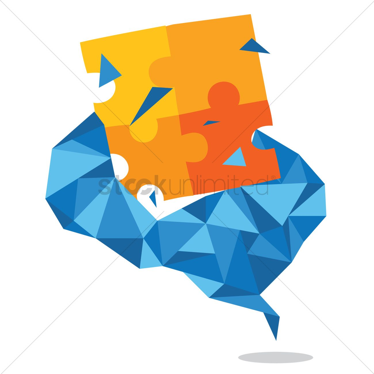 Free Jigsaw puzzle breaking out of abstract brain Vector Image