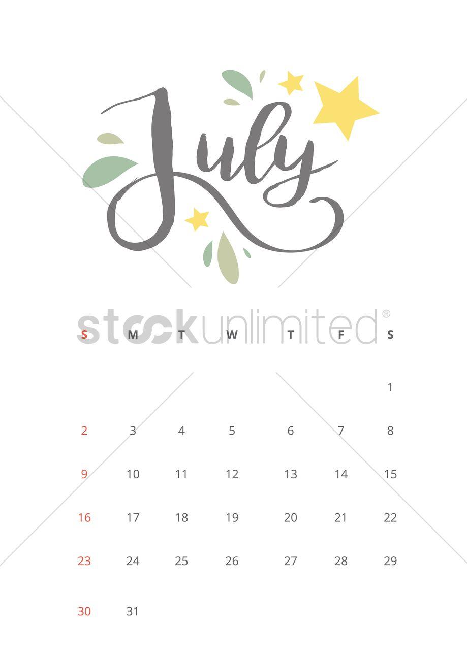 July 2017 calendar Vector Image - 1940336 | StockUnlimited
