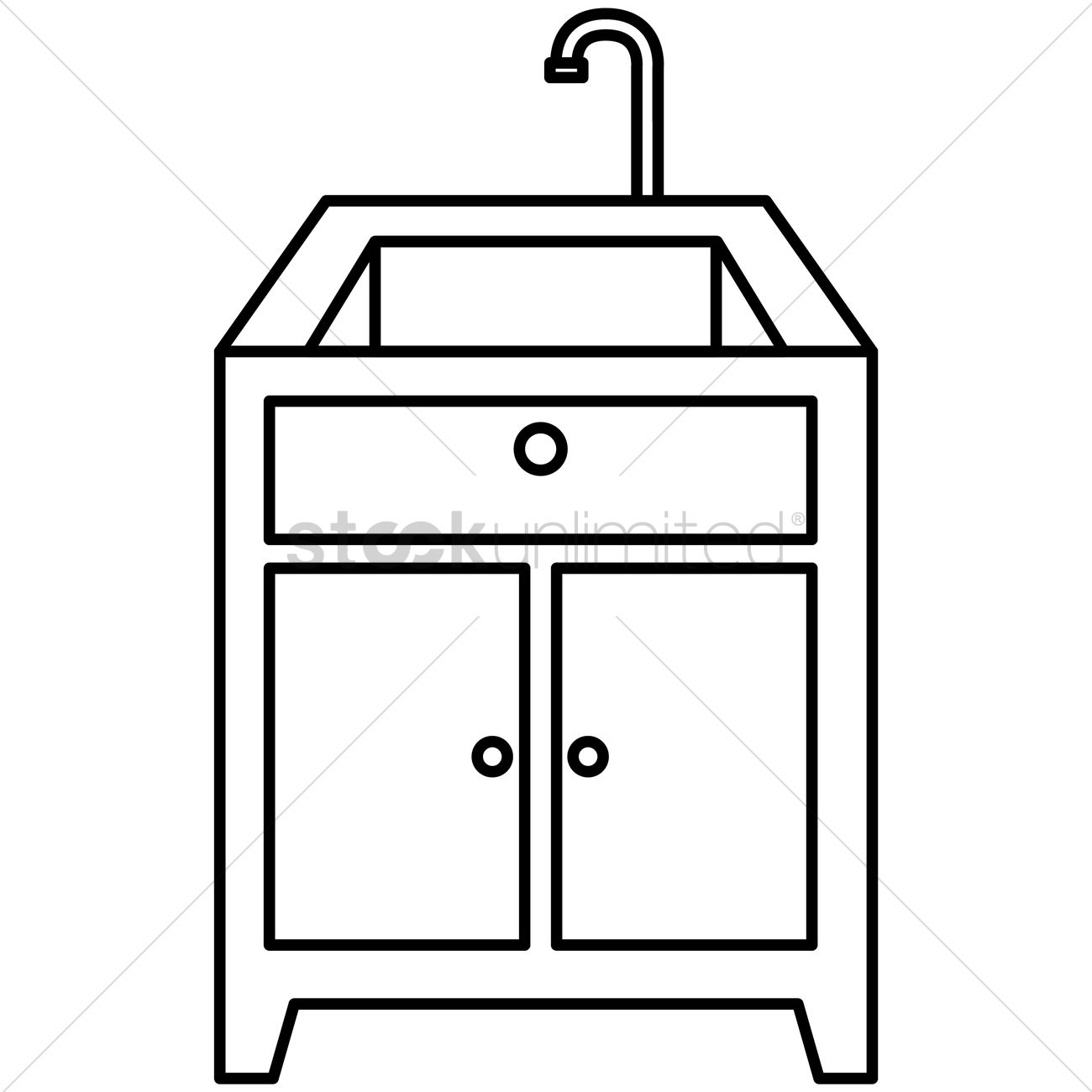 Kitchen Sink And Counter Top Vector Image