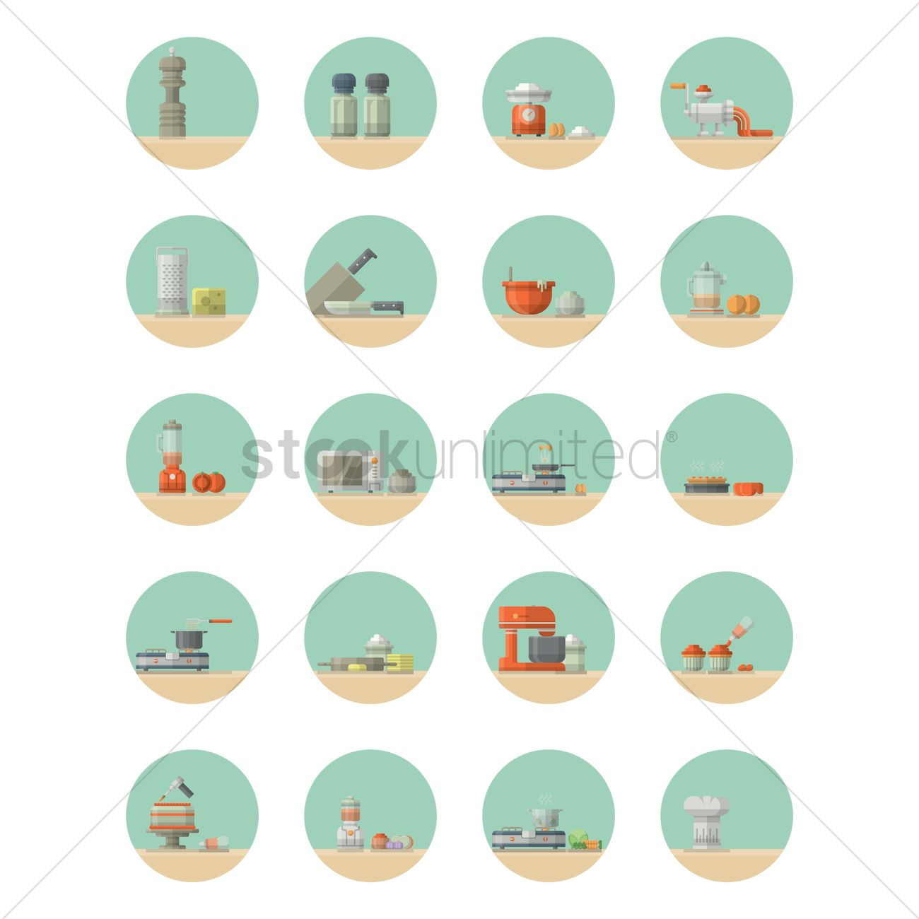Kitchen utensils and appliances Vector Image - 1351892 | StockUnlimited