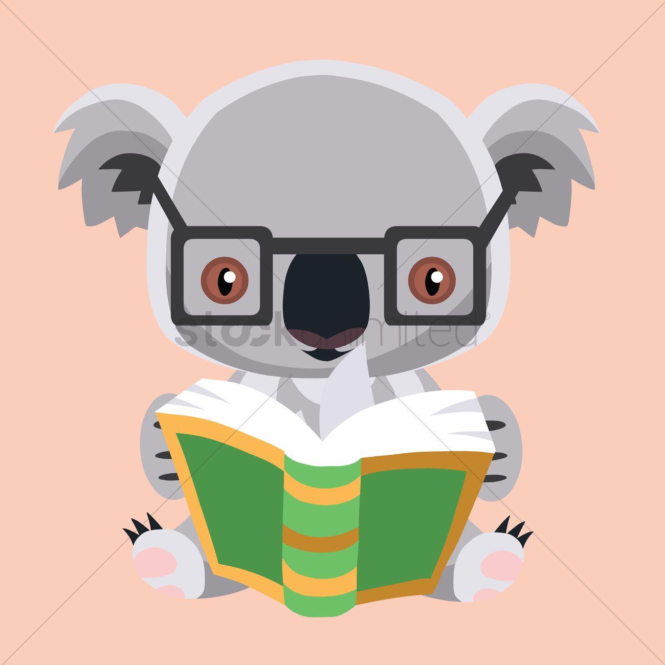 free koala bear reading a book vector image 1258796 stockunlimited