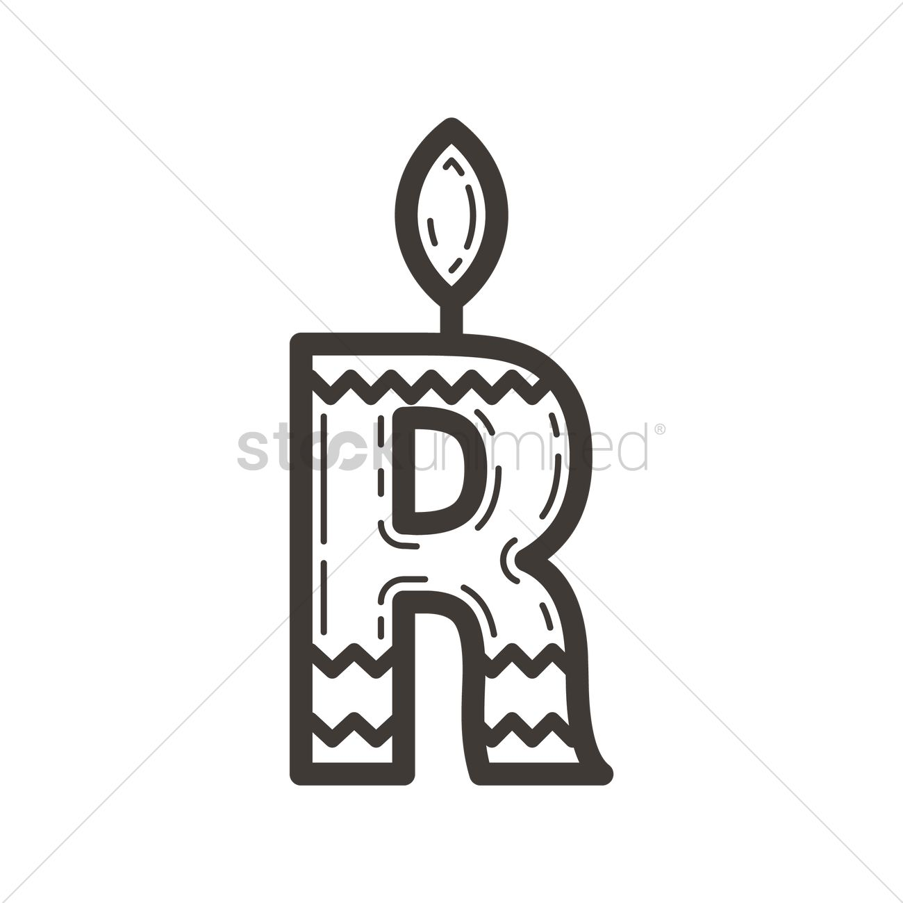 Letter R In Candle Design Vector Graphic