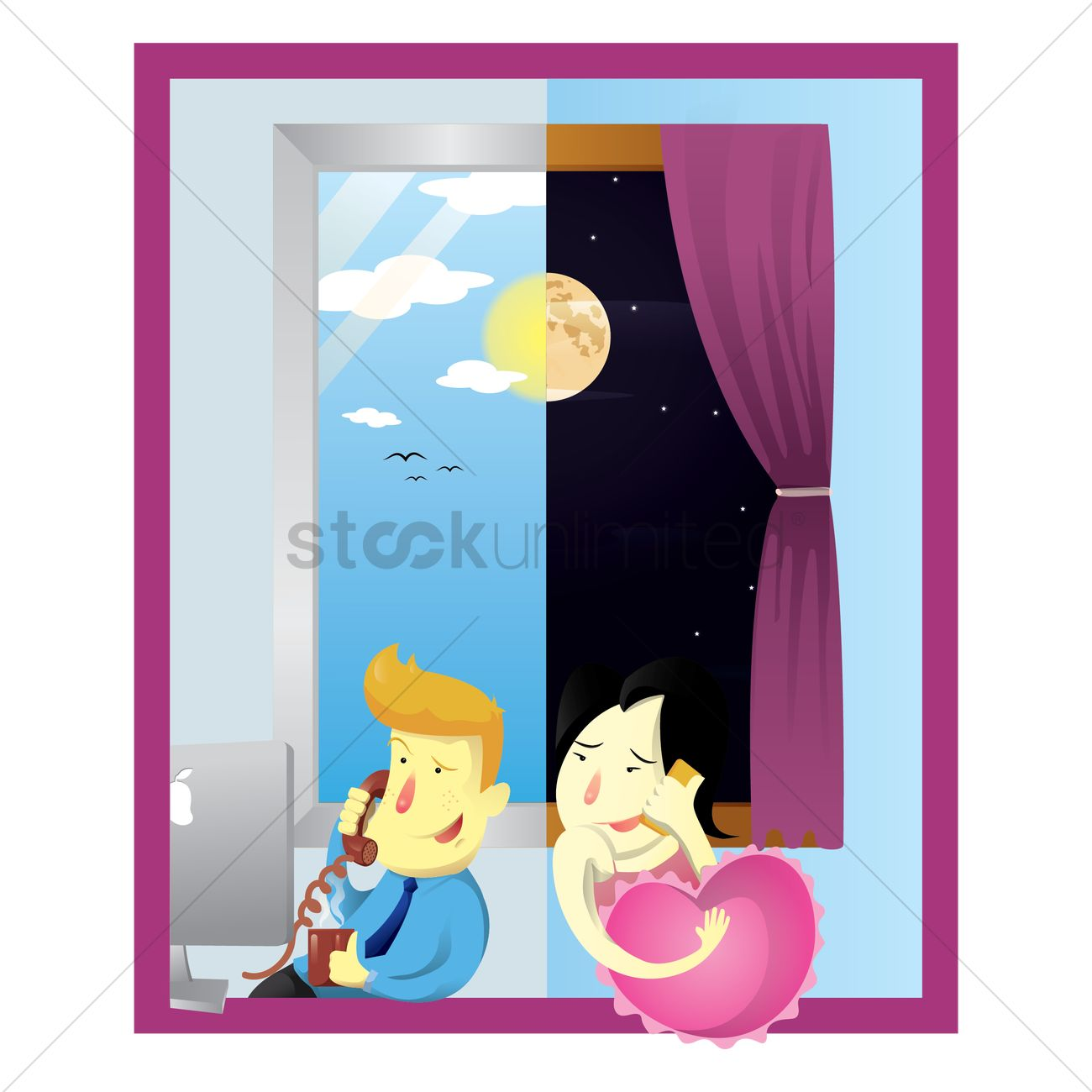 Love Couple Talking On Phone Vector Image 1491364 Stockunlimited