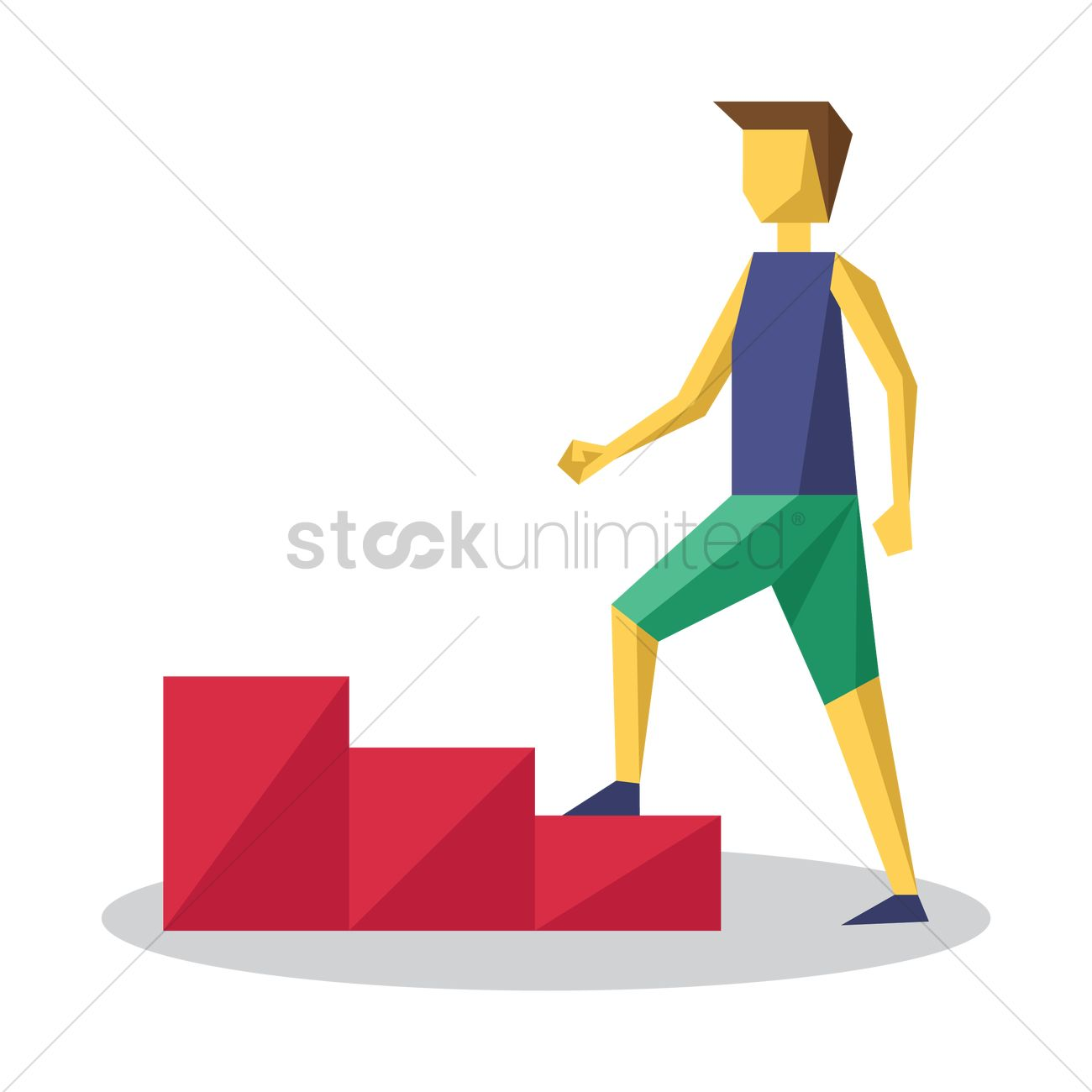 Man Climbing Stairs Vector Image 1542144 Stockunlimited