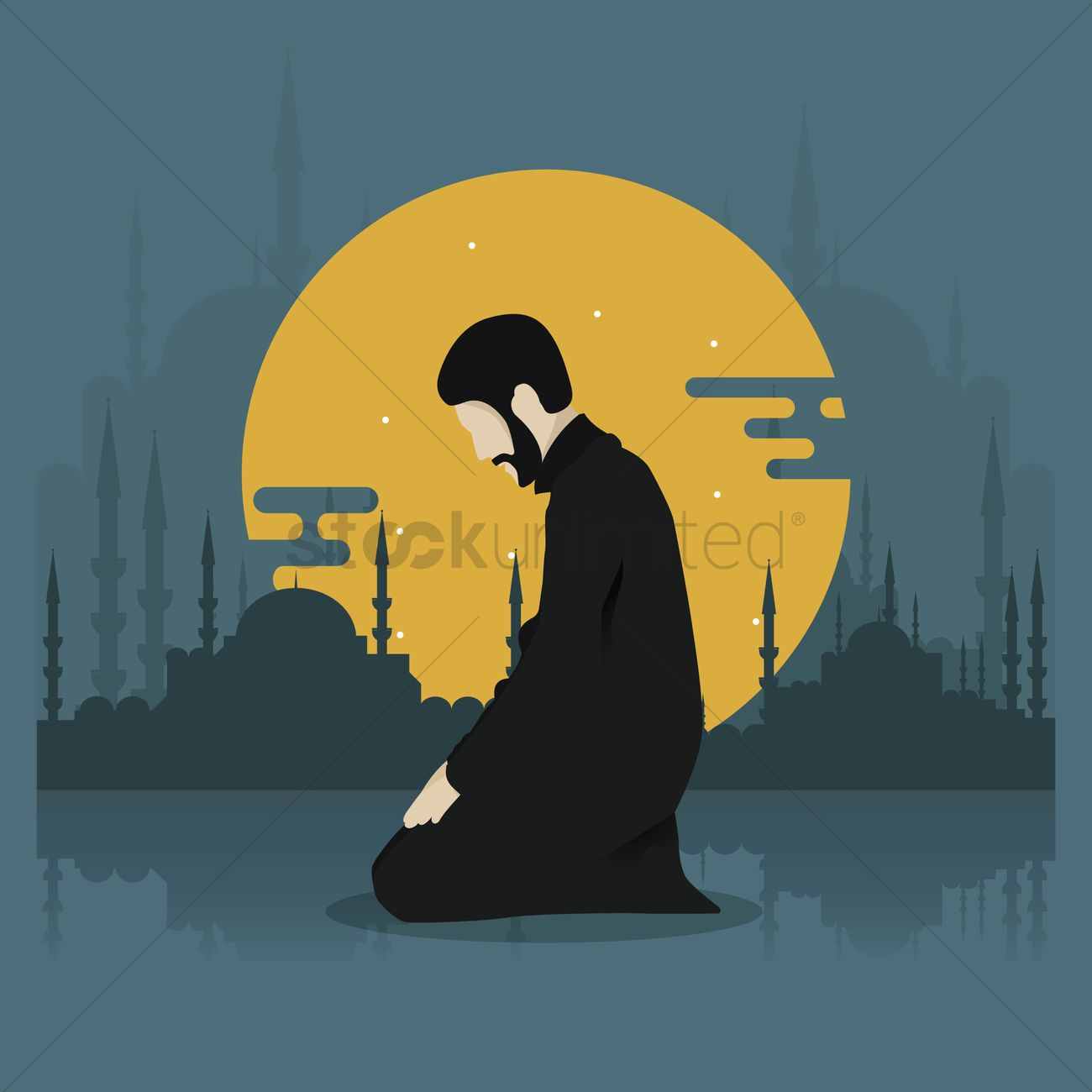 man kneeling for prayer vector image