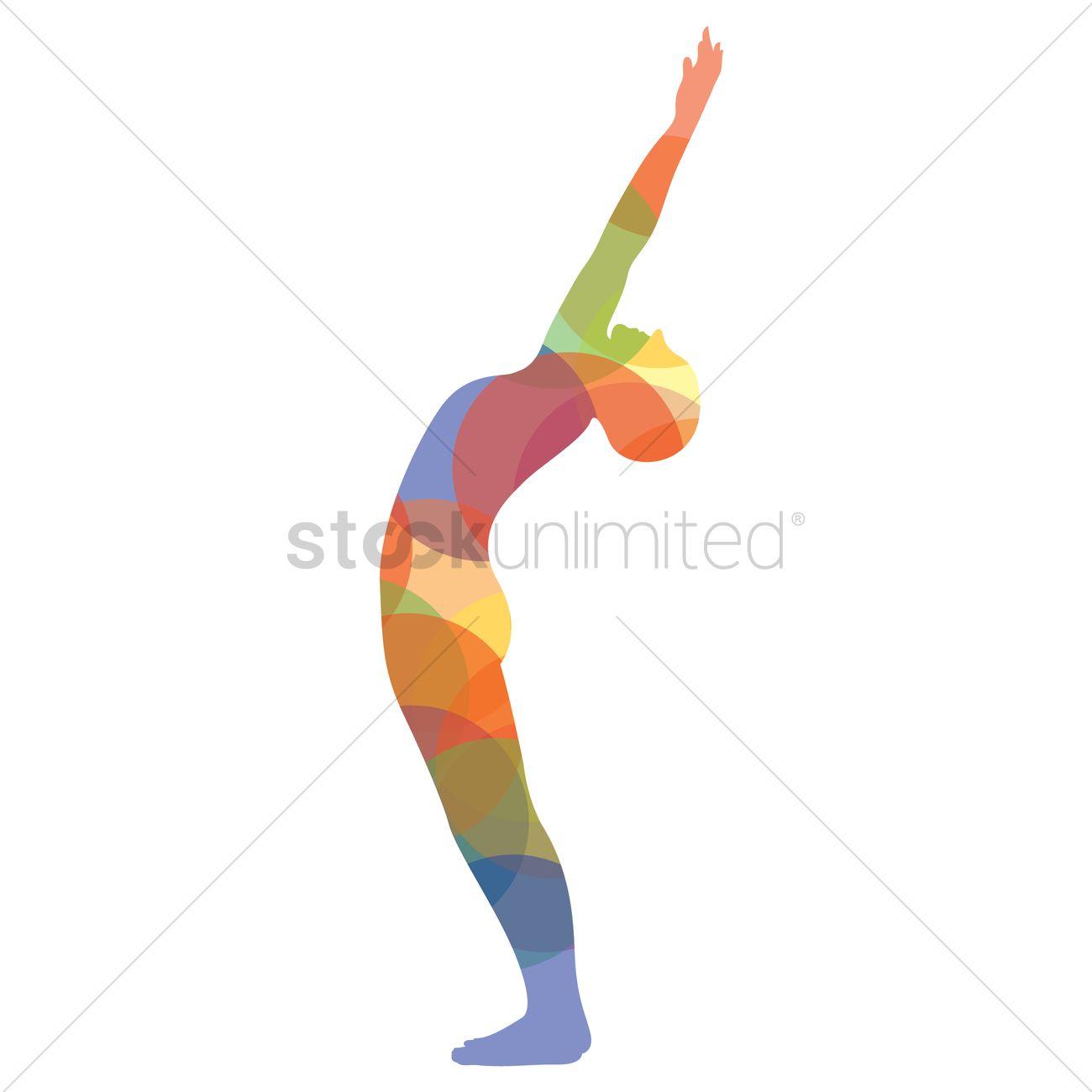 Man Silhouette Practising Yoga In Upward Salute Pose Vector Graphic
