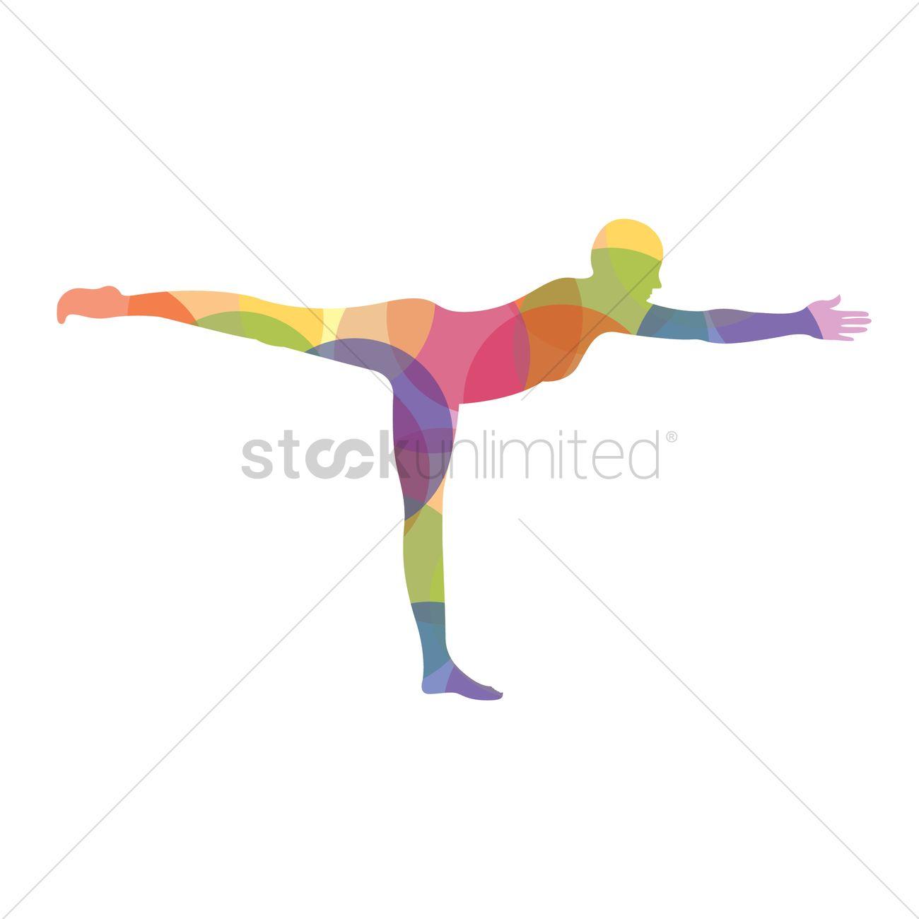 Man Silhouette Practising Yoga In Warrior Iii Pose Vector Graphic