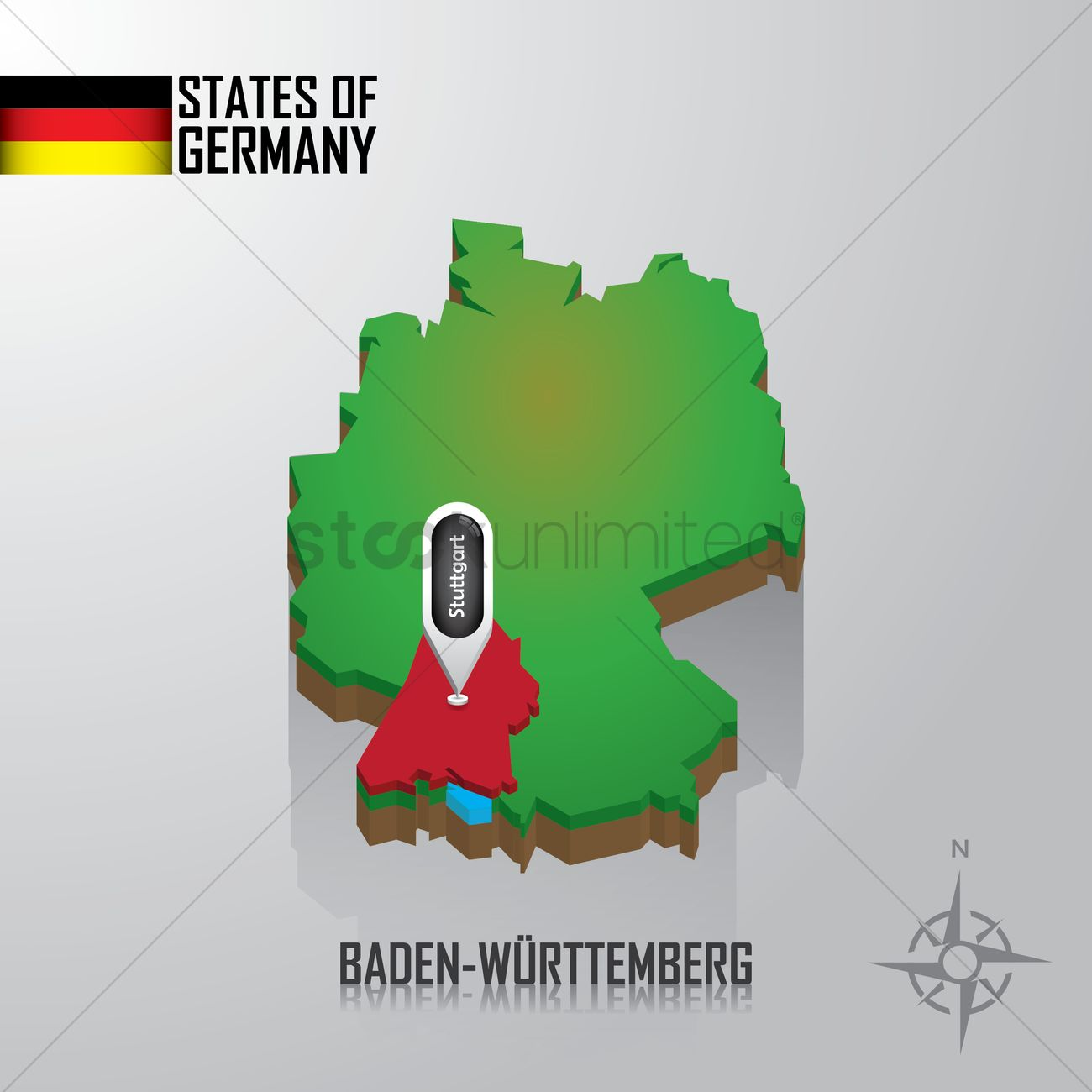 Map Of Baden Wurttemberg Germany Vector Image 1976764