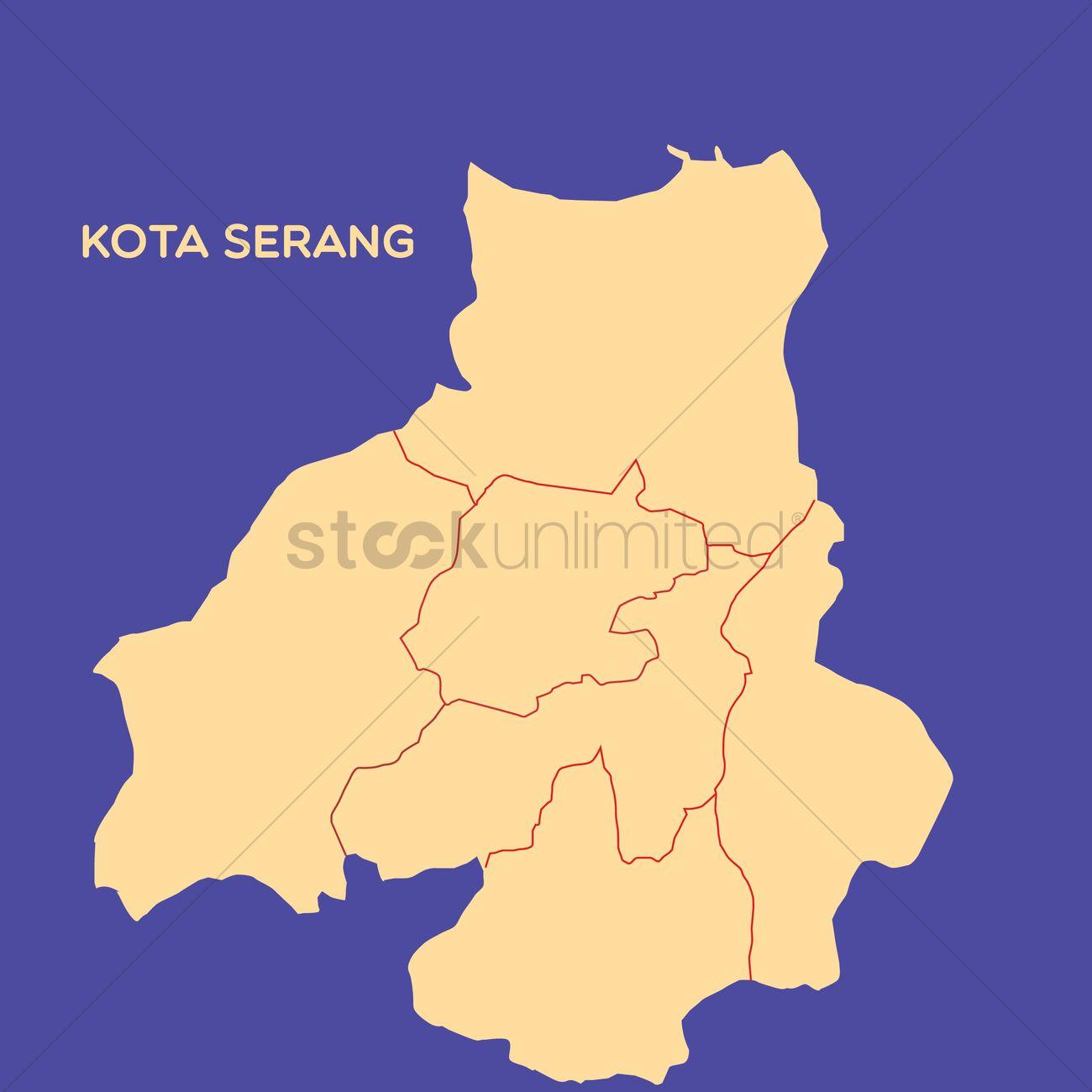 Map Of Kota Serang Vector Image 1479772 Stockunlimited
