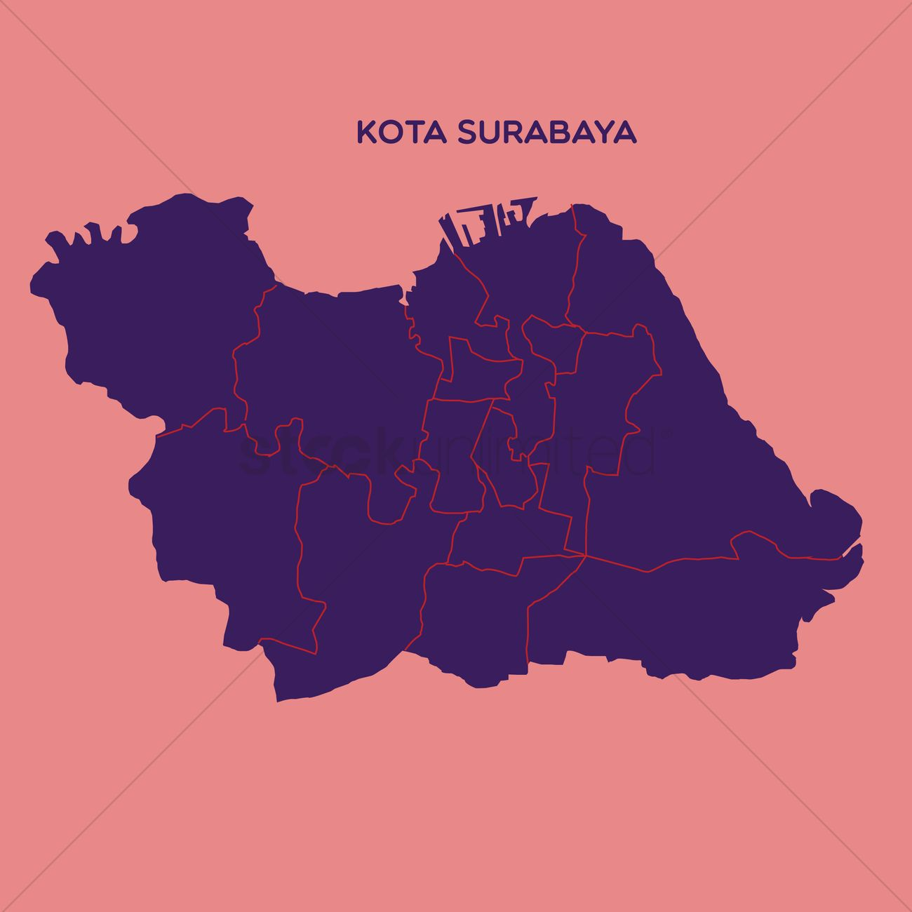 map of kota surabaya vector graphic Map