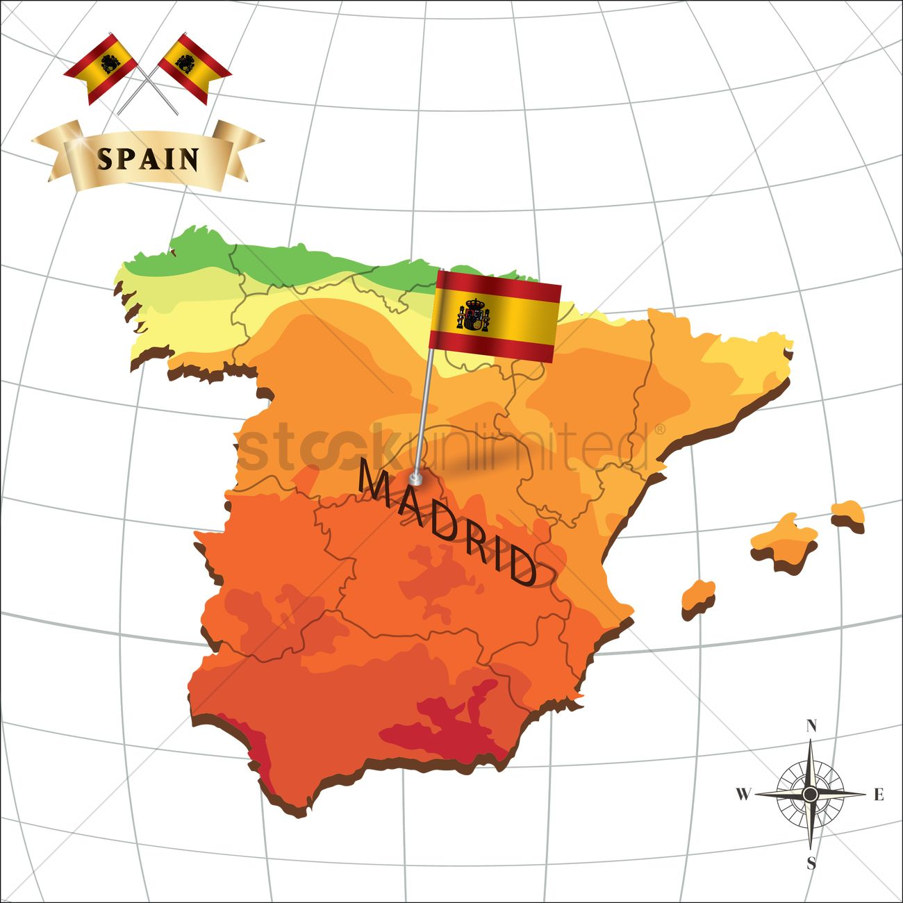 Madrid Spain Map Map of spain with madrid Vector Image   1597916 | StockUnlimited
