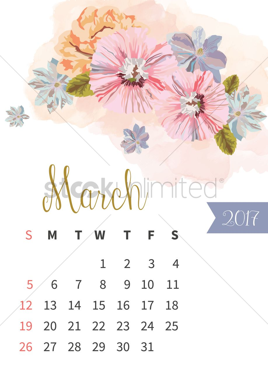 March 2017 Floral Calendar Vector Image 1940312 Stockunlimited