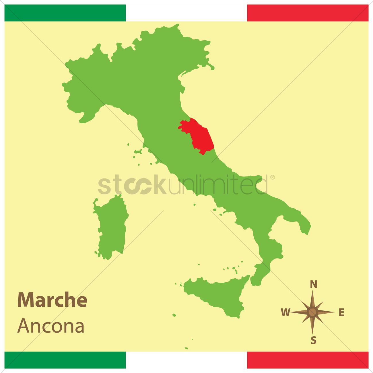 Marche On Italy Map Vector Image 1583944 Stockunlimited