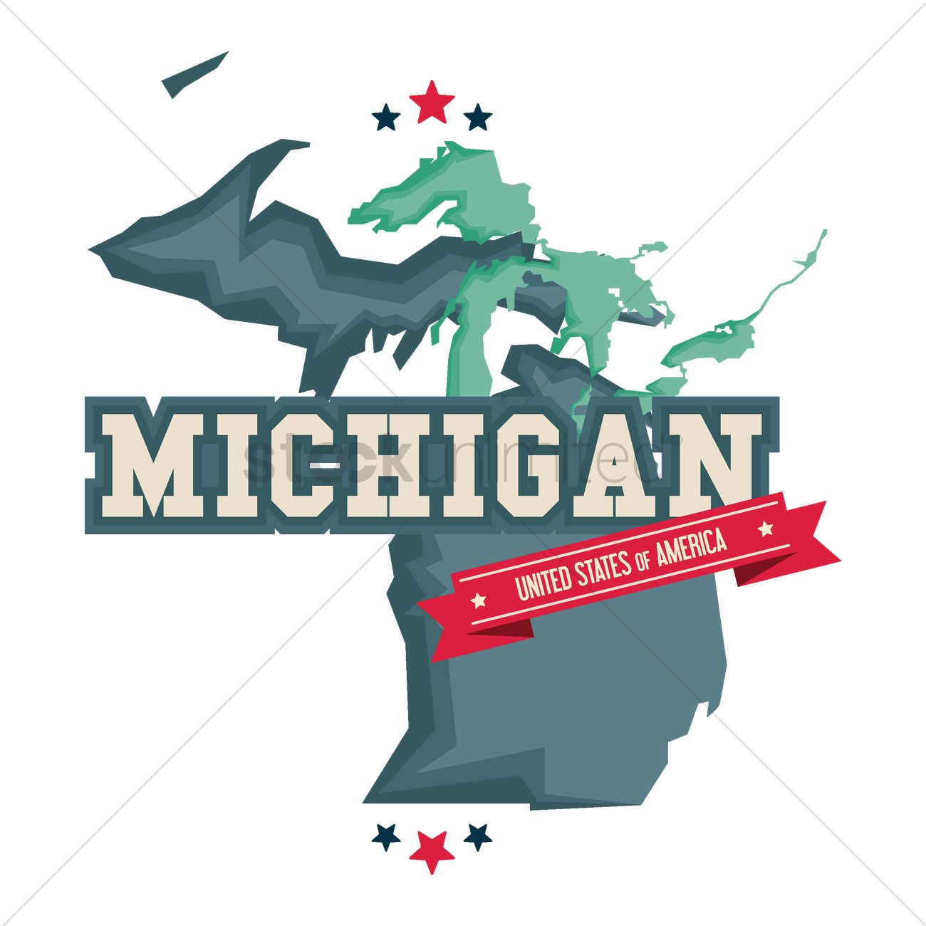 michigan map with the great lakes vector image 1541136
