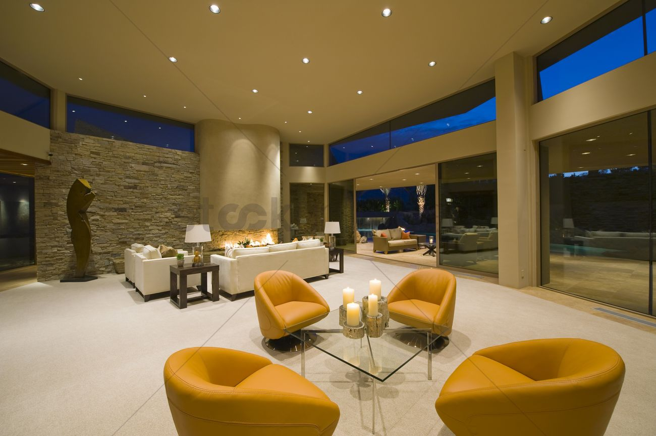 Modern Armchairs In Palm Springs Living Interior Stock Photo