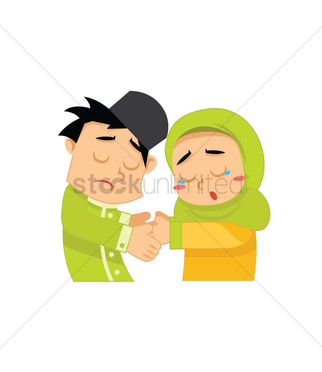 Muslim boy and girl shaking hands Vector Image - 2018944