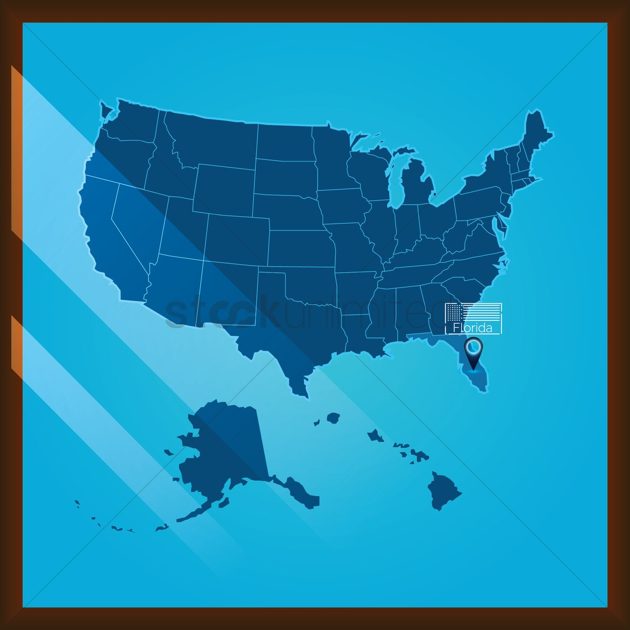 Florida On Us Map.Navigation Pointer Indicating Florida State On Us Map Vector Image