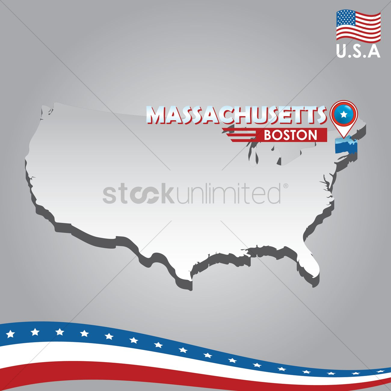 navigation pointer indicating machusetts on usa map vector graphic