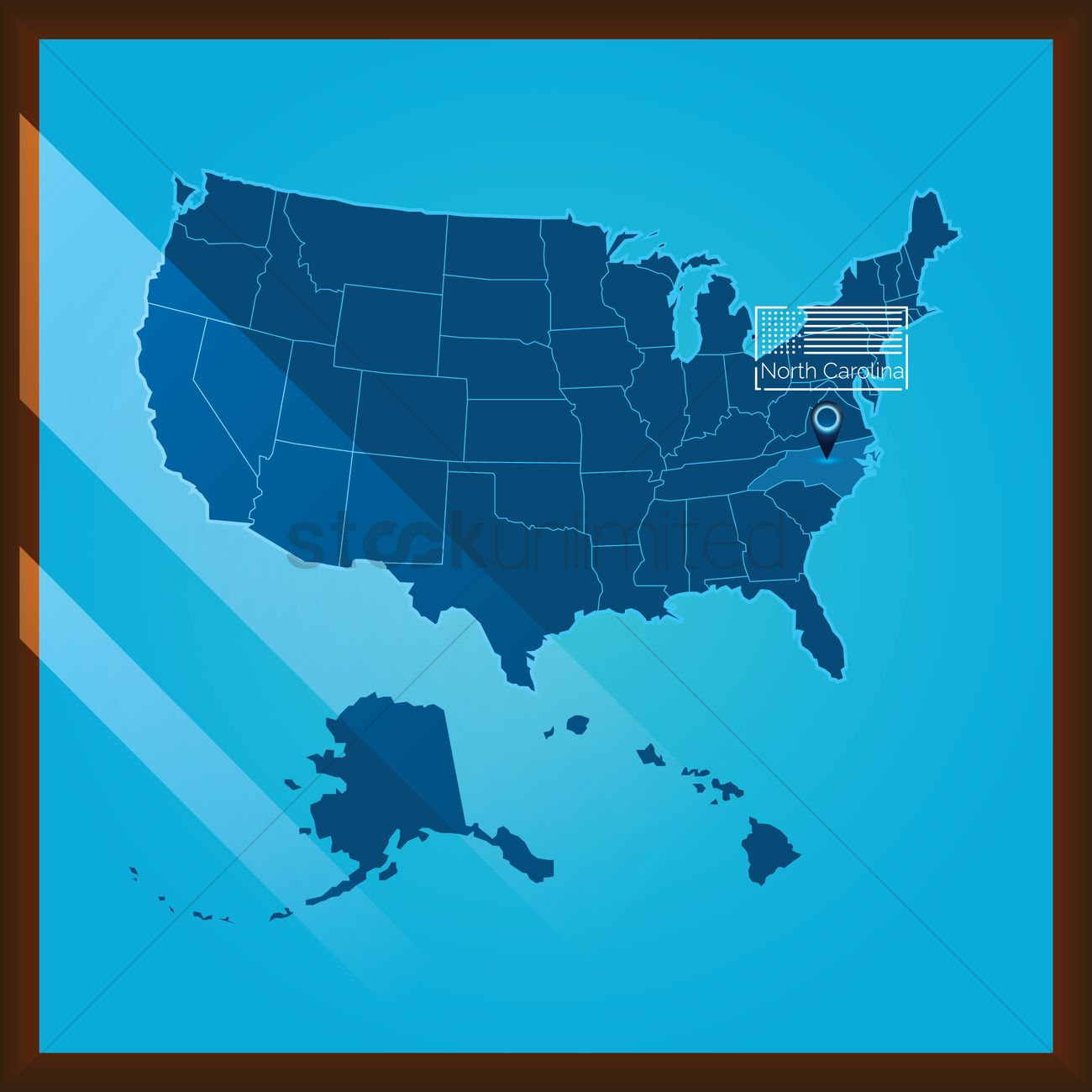 Navigation Pointer Indicating North Carolina State On Us Map Vector - North-carolina-map-us