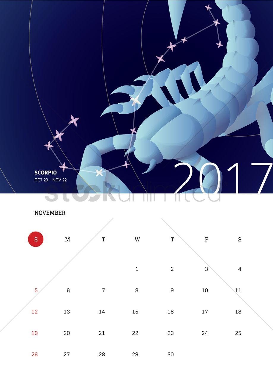 Horoscope Calendar.November 2017 Horoscope Calendar Vector Image 1940364 Stockunlimited