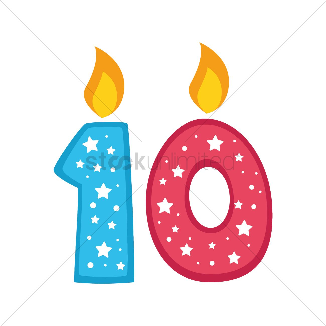 number 10 candles vector graphic