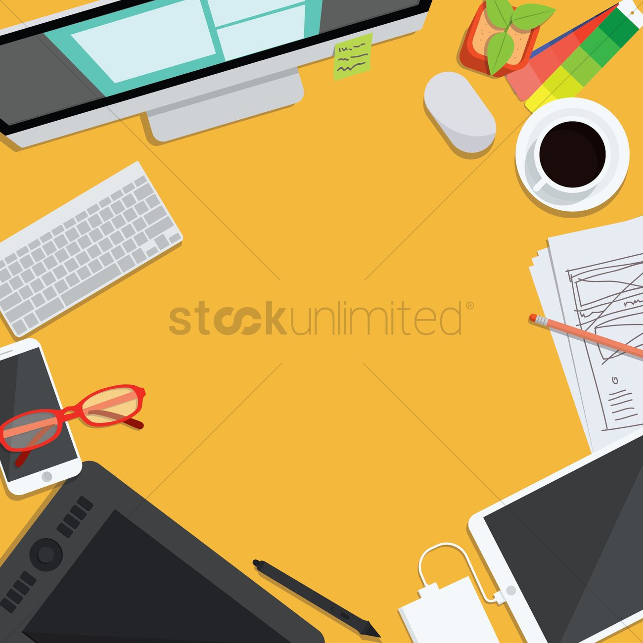 office workspace design. Office Workspace Design Vector Graphic