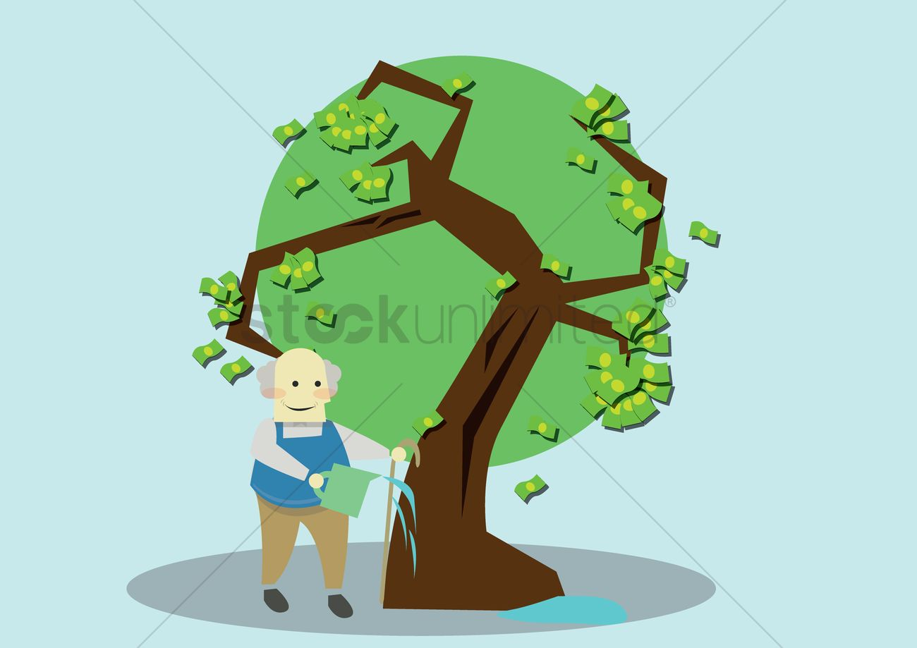 Old Man Watering Money Plant Vector Image 1421800 Stockunlimited