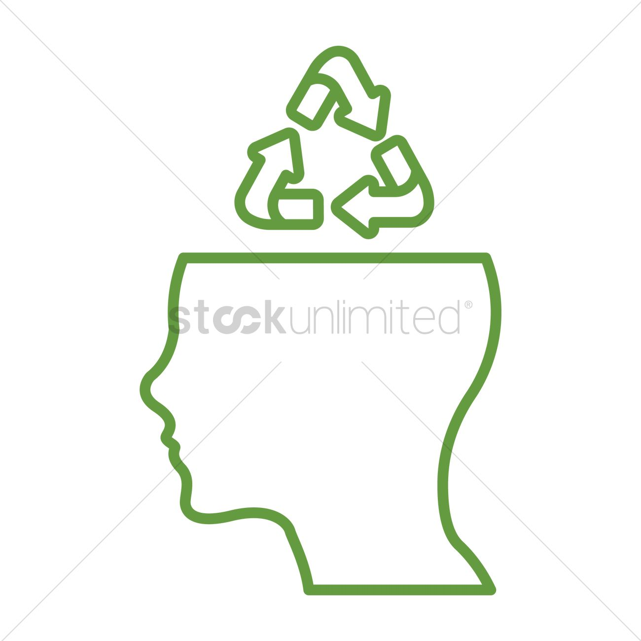 Open Mind With Recycle Symbol Vector Image 1647716 Stockunlimited
