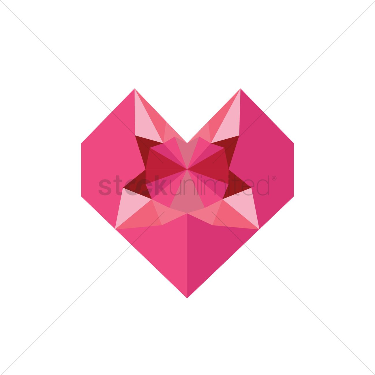 Origami Heart Gift Box With Diamond Inside Vector Graphic