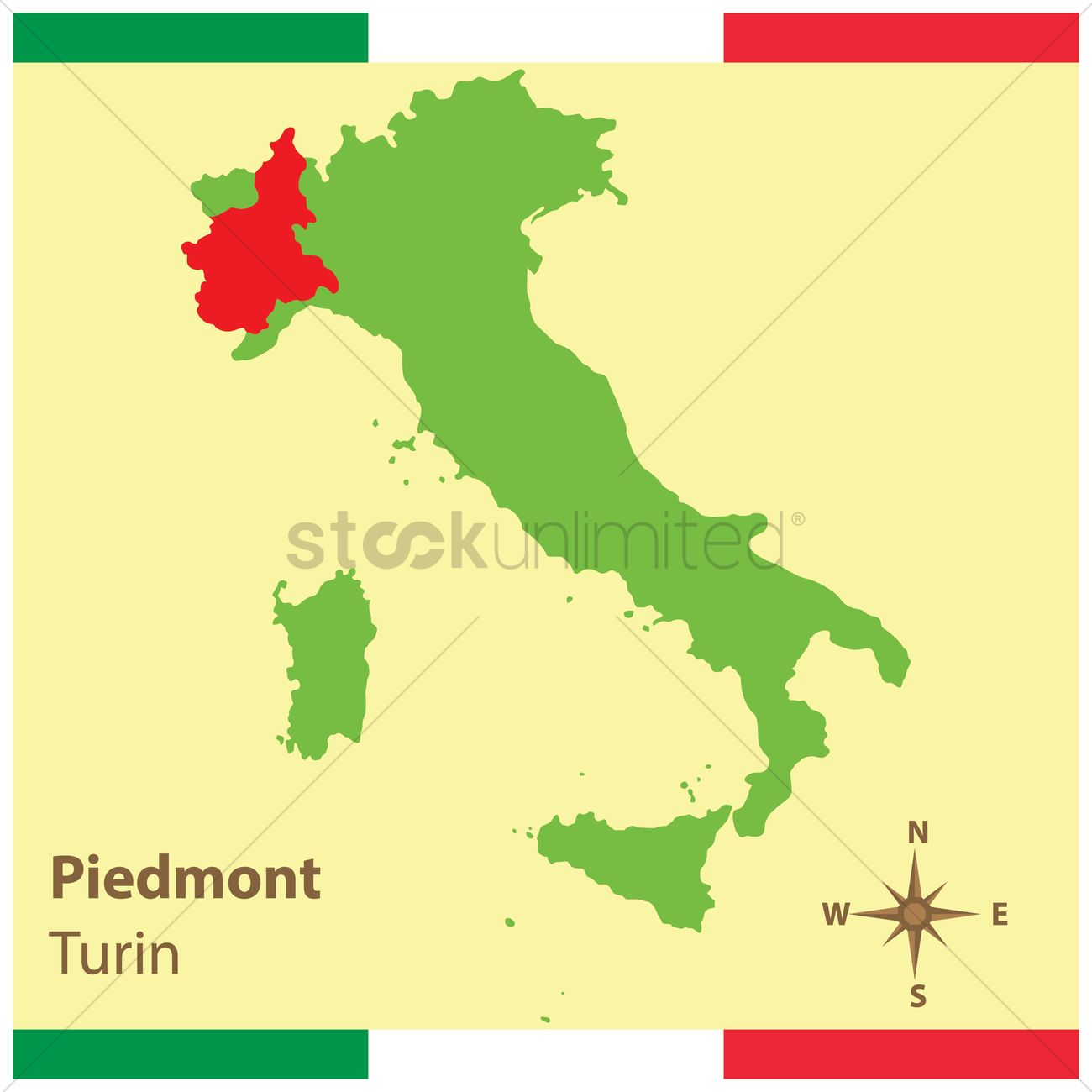 Piemonte On Italy Map Vector Image 1583936 Stockunlimited
