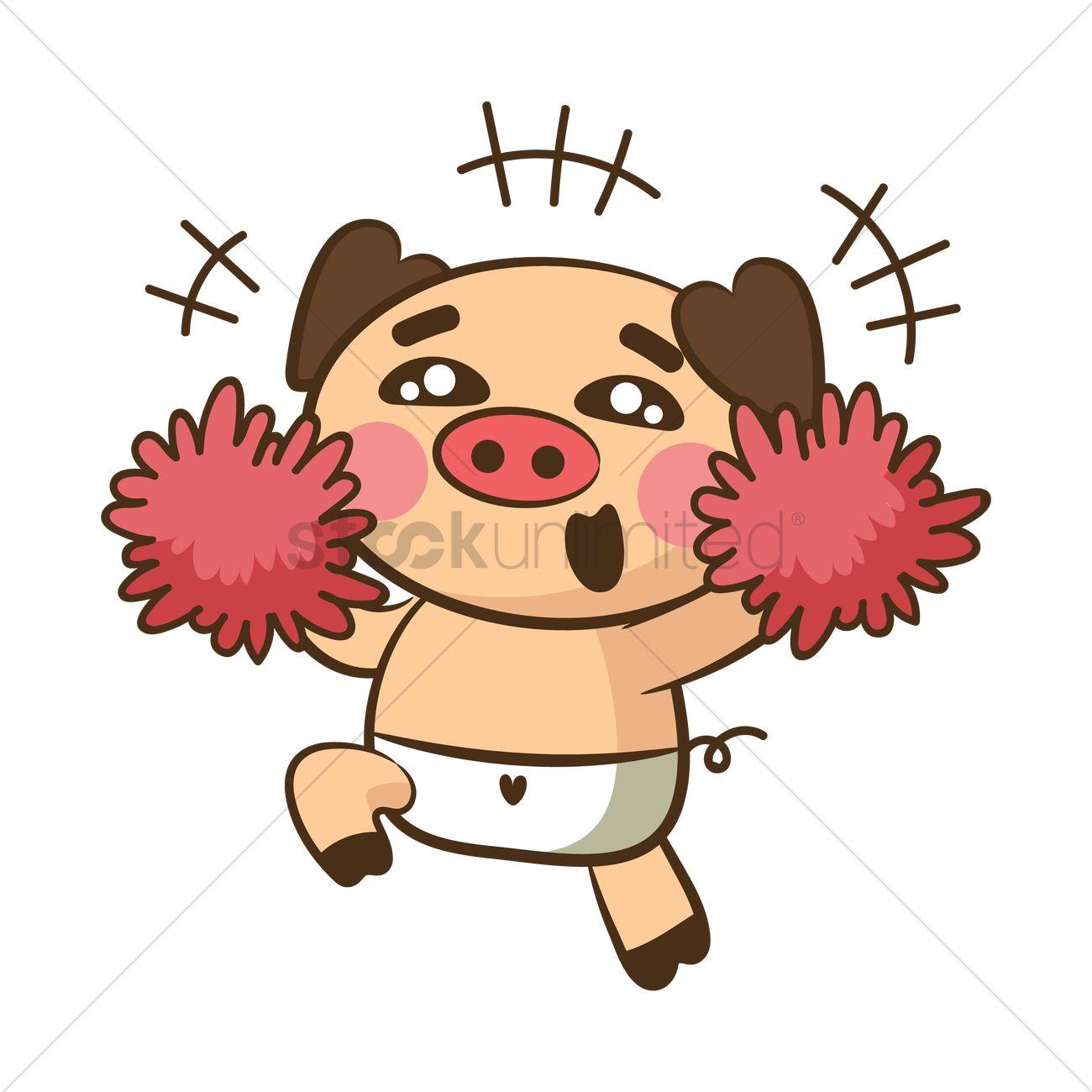 pig character as cheerleader vector image 1954760 stockunlimited