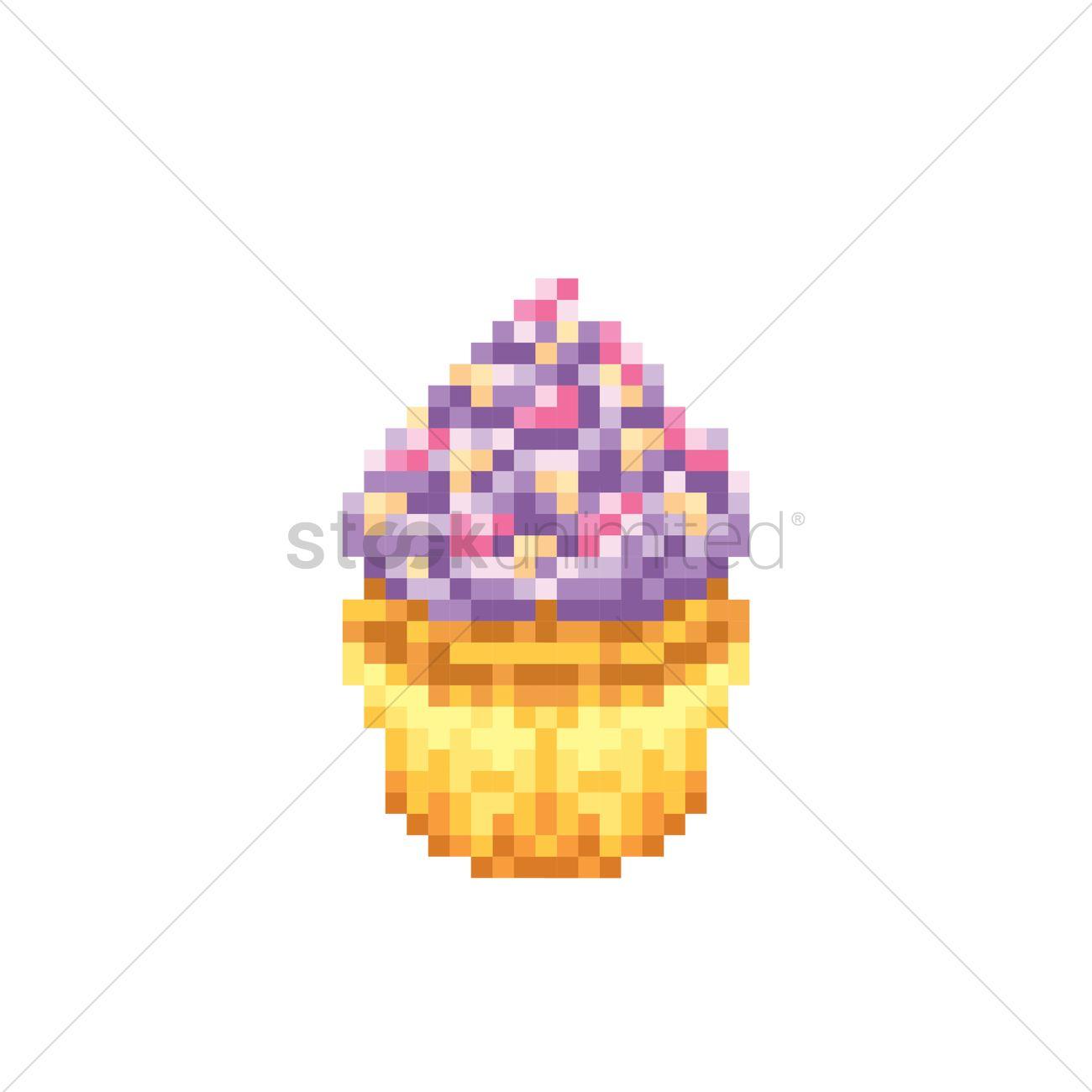 Cupcake En Pixel – Idée d'image de gâteau