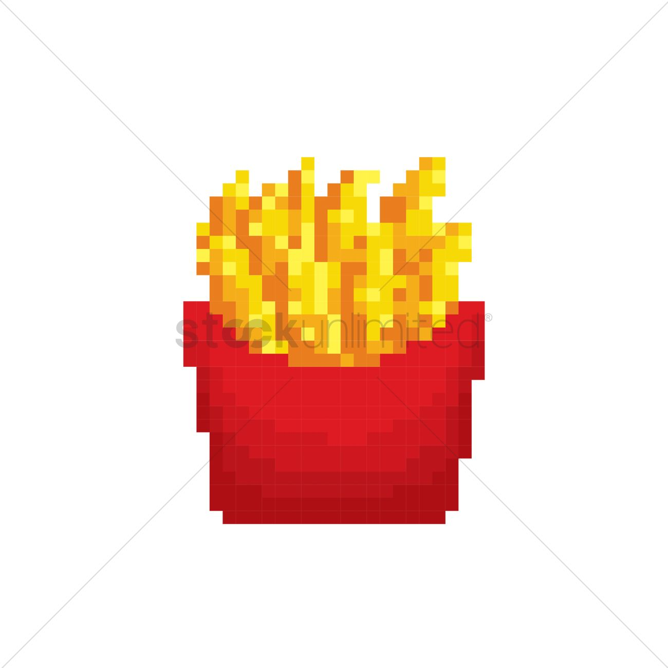 Pixel Art French Fries Vector Image 1987380 Stockunlimited