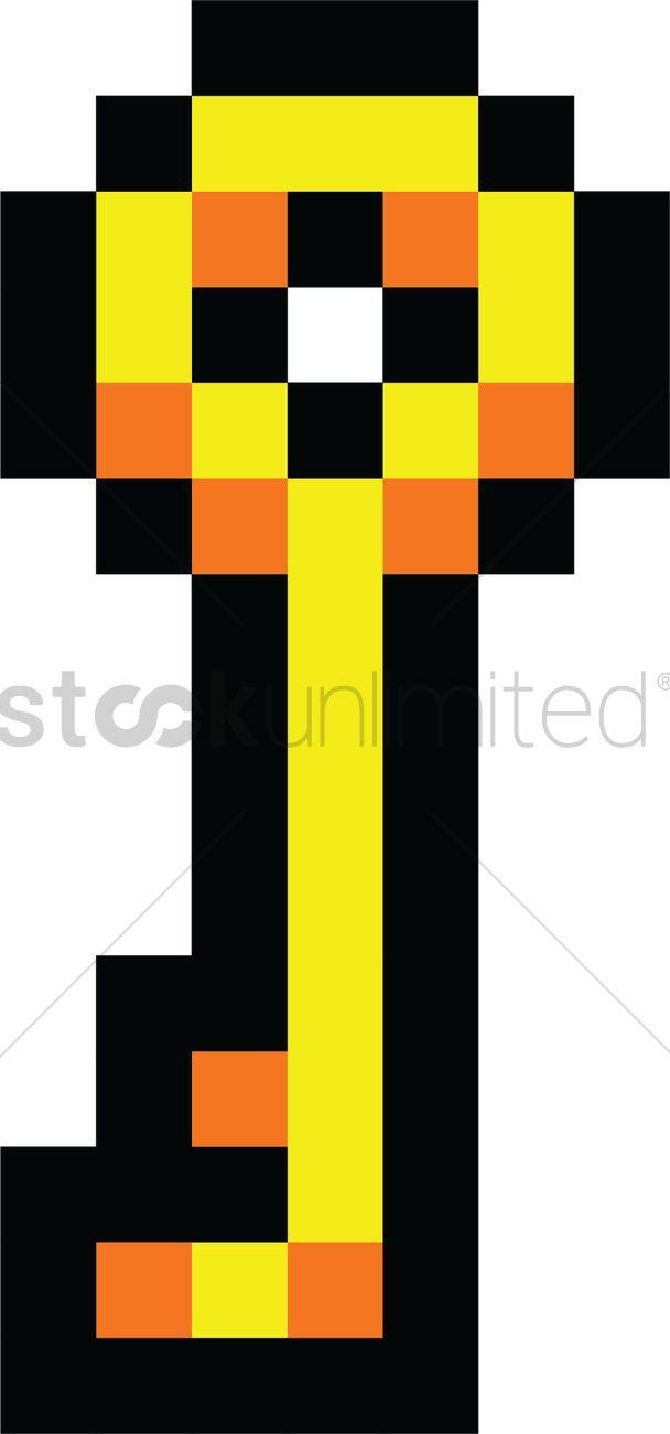 Pixel Art Gaming Key Vector Image 2022284 Stockunlimited