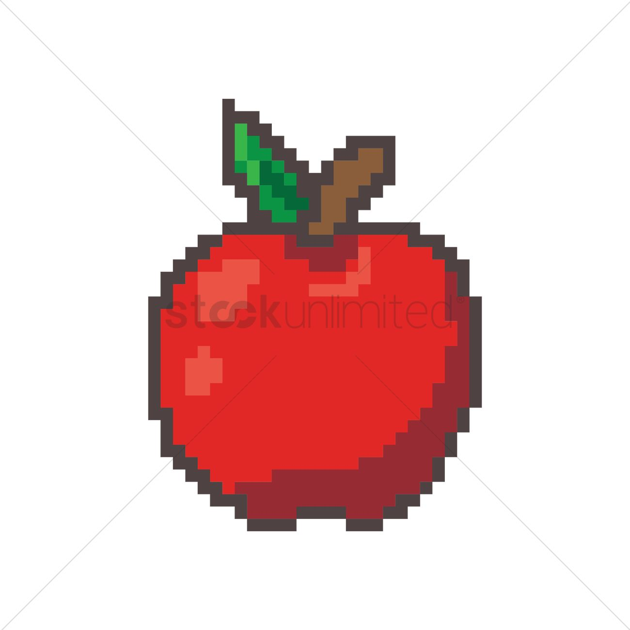 Pixel Art Red Apple Vector Image - 1957692