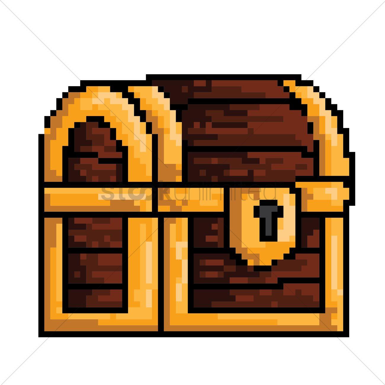 Pixel Art Treasure Chest Vector Image 1959576 Stockunlimited