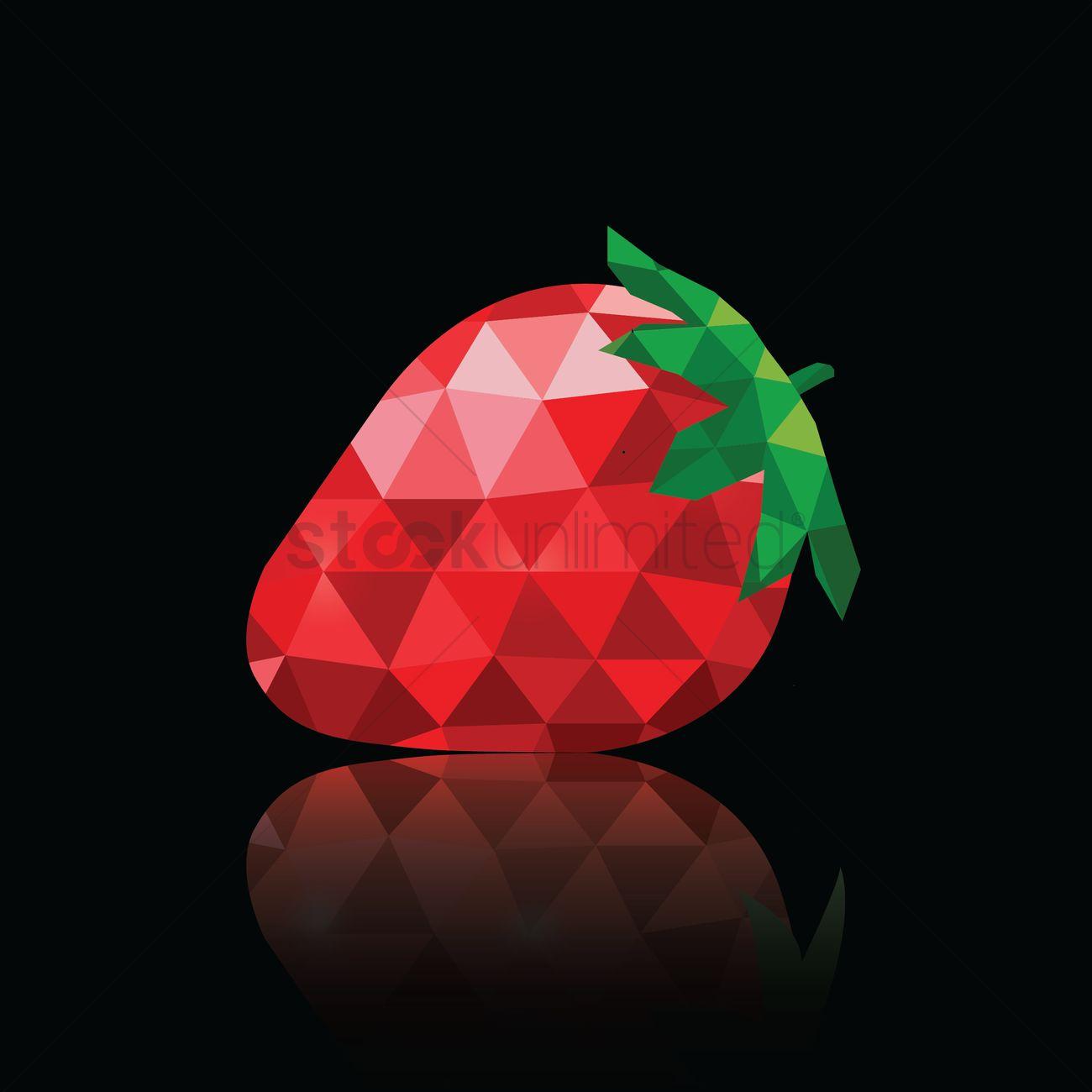 Polygon Strawberry Wallpaper Vector Graphic
