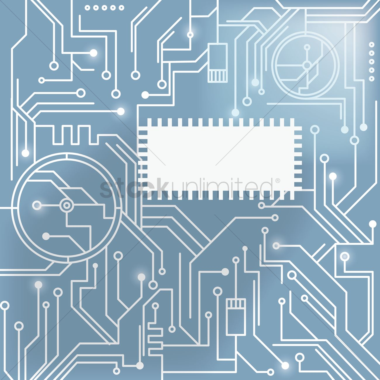 Processor On Circuit Board Design Vector Image 1647244 Diagram Graphic