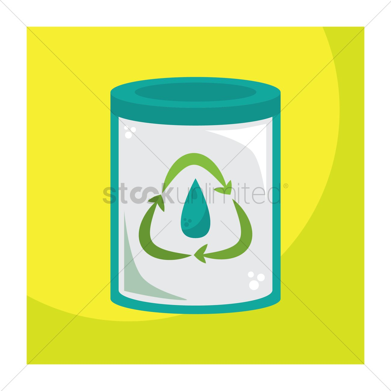 Recycle Symbol With Water Drop On Glass Jar Vector Image 1648340