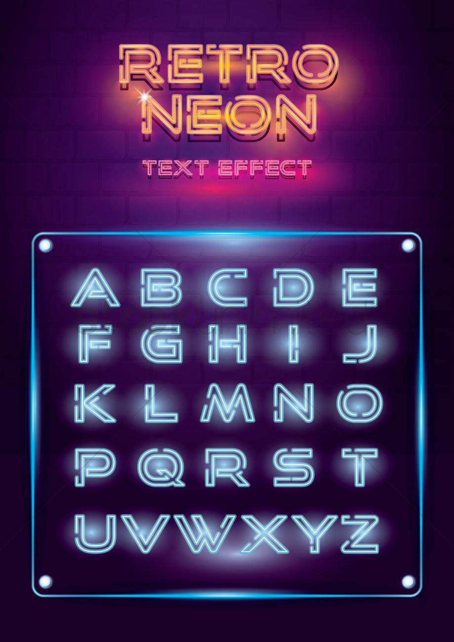 1962536 Font Style Retro Neon Lights Alphabet Set