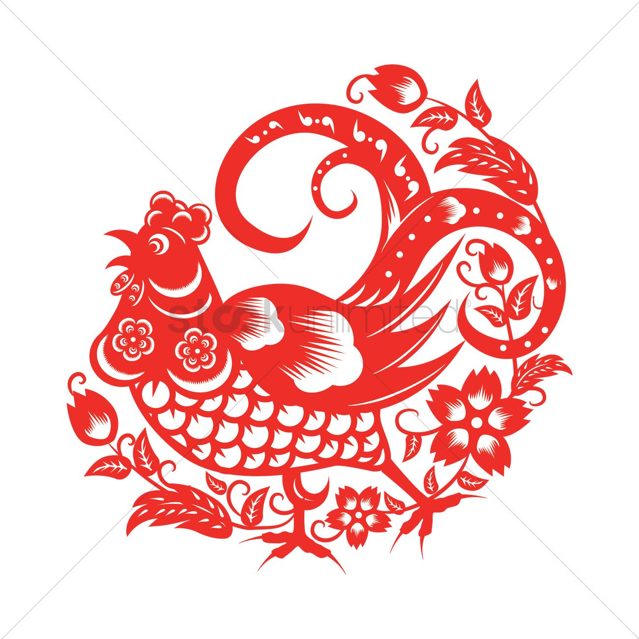 Rooster In Chinese Paper Cutting Vector Image 1935700 Stockunlimited