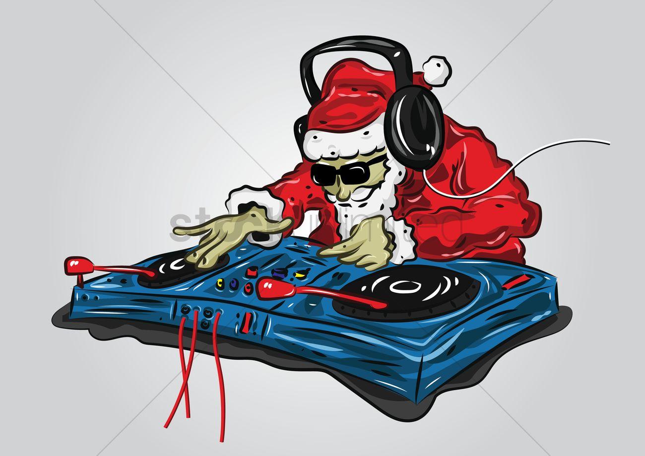 Santa Claus As A Dj Mixer Vector Image 1529360