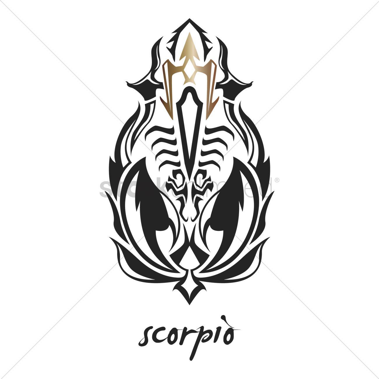 Scorpio Tattoo Horoscope Design Vector Image 1969168 Stockunlimited