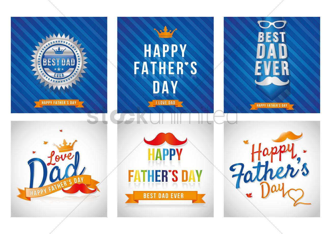 Free Set Of Happy Fathers Day Greeting Cards Vector Image 1558804