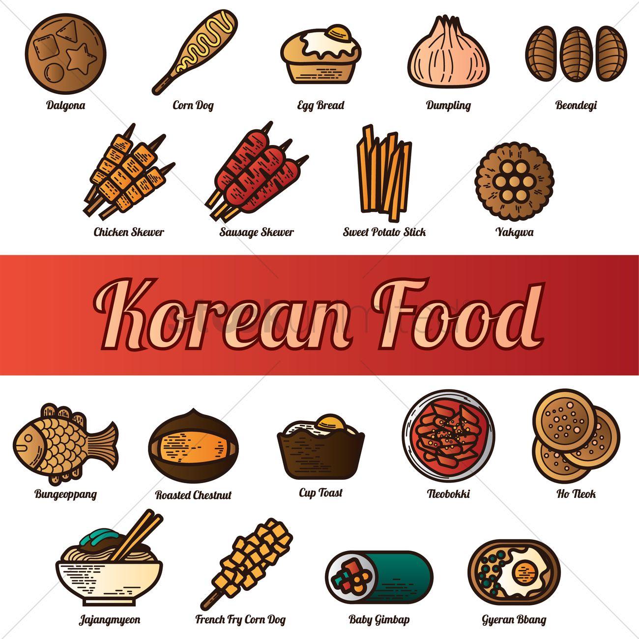 Set of korean food icons Vector Image - 2014632 ...
