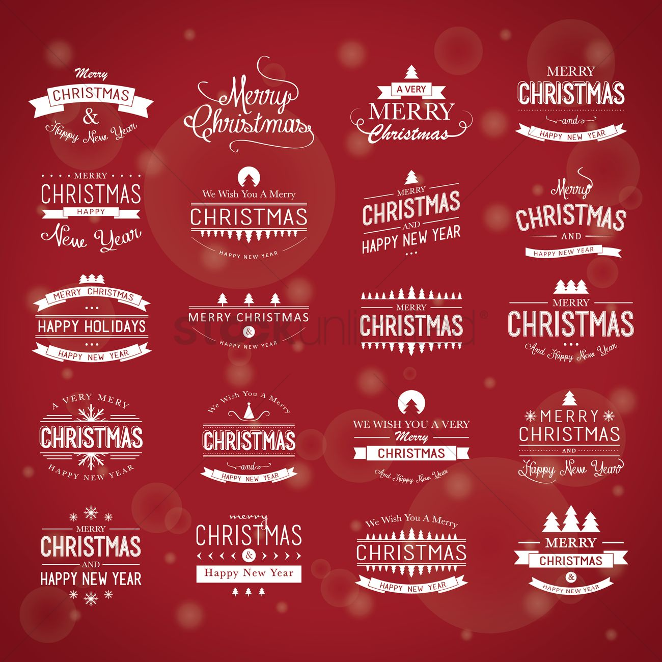 Set Of Merry Christmas And Happy New Year Greetings Vector Image
